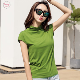turtleneck t shirt female Canada - 2Xl 3Xl Summer Cotton T Shirt 100% Cotton Women Short Sleeve Female Tshirt Turtleneck Slim Fit Top Tee Shirts 2019 Camiseta Mujer