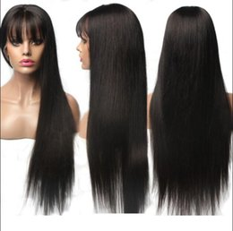 $enCountryForm.capitalKeyWord Australia - Celebrity Wig Lace Front Wig with Bang Natural Color 10A Grade Chinese Human Hair Full Lace Wigs for Black Women Fast Free Shipping