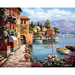 bay paintings NZ - Beautiful Bay Landscape DIY Digital Painting By Numbers Modern Wall Art Canvas Painting Christmas Unique Gift Home Decor 40x50cm