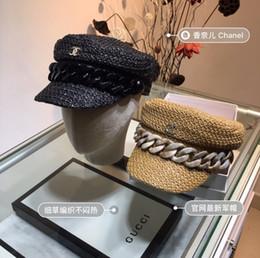 $enCountryForm.capitalKeyWord Australia - Vintage Gold Braid Straw Hat Bee Lady Fashion Wide Brim Sunscreen Flat Spring and Summer Travel Cap