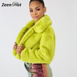White Faux Fur Shorts Australia - Winter Warm Fluffy Faux Fur Short Coat Women Furry Fake Fur Cropped Jacket Turn Down Collar Streetwear Plus Size Overcoat