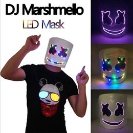 $enCountryForm.capitalKeyWord Australia - Top Grade Latex LED Glowing Party DJ Marshmello Mask Full Face Cosplay Costume Carnaval Halloween Prop Latex Masks Headdress Accessories toy