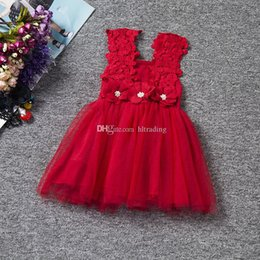 $enCountryForm.capitalKeyWord NZ - baby girls hollow strap dress flower mesh TUTU skirt kids fancy Lace dress Children designer clothes M091