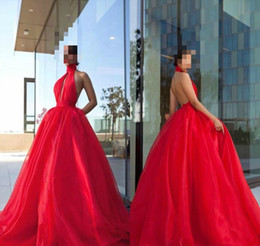 China Ball Lighting Australia - High Quality Designer Ball Gown Prom Dresses Sexy Backless Formal Party Gowns Floor Length Halter Red Blue Tull Cheap Arabic Dress China