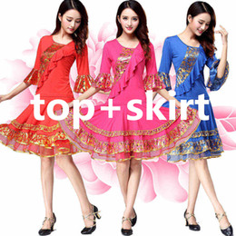 Wholesale sexy latin resale online - 2019 Latin dance costume sexy ice silk latin dance dress for women competition costume dresses Black Blue Red
