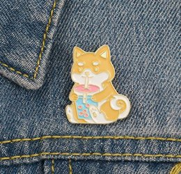 Wholesale kids indian clothes for sale - Group buy Lapel Pin Dog Drink Milk Tea With Pearl Enamel Brooch Pin Clothes Badge Cartoon Jewelry Gift For Friends Kids zdl1223
