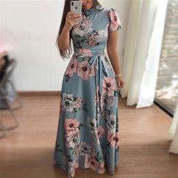 $enCountryForm.capitalKeyWord NZ - Women Long Maxi Dress 2019 Boho Floral Print Summer Dress Casual Short Sleeve Turtleneck Bandage Bodycon Party Dress Vestidos T3190604