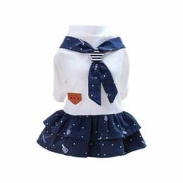 cute styles for clothes UK - New Pet Dog Clothes Cute Navy Style Pet Cat Puppy Dog Couple Costume Summer Dog Pet Overalls Dress for Small Dogs Cats