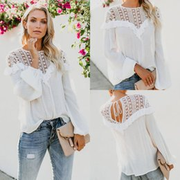 woman lace long NZ - Women Summer Long Sleeve Lace Patchwork T-Shirts Loose Top Ladies Casual T-Shirt Top Plus Size