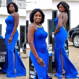 $enCountryForm.capitalKeyWord NZ - Elegant Royal Blue Backless Prom Dresses South Africa Scoop Sleeveless Side Slits Plus Size Evening Gowns With Beaded Robes formelles soirée