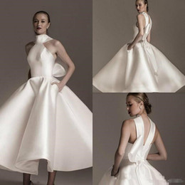 Ankle Length High Neck Wedding Dresses Australia - Vintage Ankle-length Wedding Dresses with Big Bow 2019 High Neck Stain Puffy Skirt Princess Garden Church Short Wedding Gown Bridal Dress