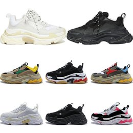 Mens gray casual shoes online shopping - New triple s designer shoes sneakers for men platform black white gray red pink women mens trainers fashion casual dad shoes size