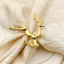 party decorations tables cloth Australia - Christmas Deer Napkin Ring Buckle Cloth Napkin Ring Holder Home Dinner Table Decoration Hotel Wedding Party Supplie Table Decoration