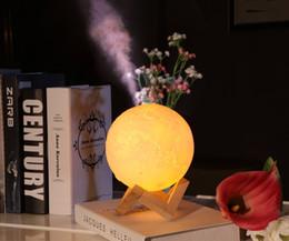 $enCountryForm.capitalKeyWord Australia - 880ML Air Humidifier 3D Moon Lamp light Diffuser Aroma Essential Oil USB Ultrasonic Humidificador Night Cool Mist Purifier with wood stand