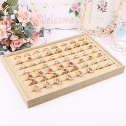 pin display cases NZ - 2015 New style wholesale Organizer Show Case Jewelry Display Rings Holder Box New linen Ring Storage Ear Pin Display Box