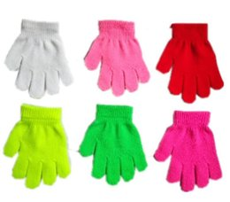 kids magic gloves wholesale NZ - Children Winter Gloves Boys Girls Magic Kintted Finger Glove Kids Warm knitting Mittens Solid Candy Color Gloves Students Outdoor Glove Best
