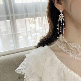 $enCountryForm.capitalKeyWord Australia - New Vintage Korean Simulated Pearl Long Tassel Drop Earrings For Women Shiny Crystal Wedding Party Pendientes Jewelry