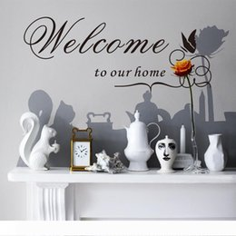 wall sticker pvc vine flower butterflies Australia - Welcome to our Home Wall Quote Decal Sticker English Words Butterfly Flower Vine Wall Art Mural Decor Sticker Living Room Wall Decal Poster