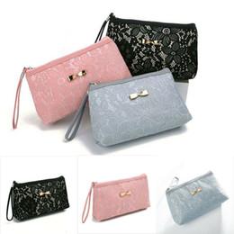 $enCountryForm.capitalKeyWord Australia - New Elegant Women Lady Lace Flower 3 Color Travel Bag Zipper Make Up Bag Purse Handbag