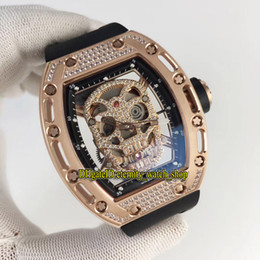 rubber band mens luxury watch Australia - Luxury Edition RM 052 Skull Diamonds Skeleton Dial Japan Miyota Automatic RM052 Mens Watch Rose Gold Diamonds Case Rubber Band Sport Watches