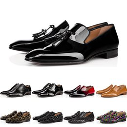 Flat heel mens dress shoes online shopping - 2019 designer mens red bottoms shoes Flat Genuine Leather Oxford Shoes Business Mens womens Walking Wedding Party size with box