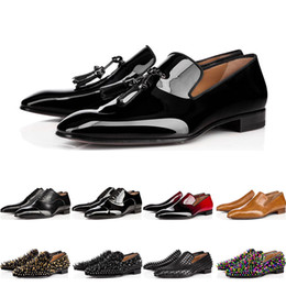 Dress up box online shopping - 2019 designer mens red with bottoms shoes Flat Genuine Leather Oxford Shoes Business Mens womens Walking Wedding Party size with box