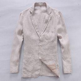 Men White Linen Casual Suits Australia - New style British trend linen jacket men casual suit 100% flax clothing business suits men fashion blazer masculino