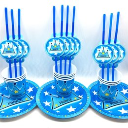 Crown theme party online shopping - 60pcs Kids Favors Prince Blue Crown Theme Straws Baby Paper Plates Happy Birthday Party Cups Decoration Party Supplies