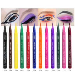 liquid gold blue NZ - QIBEST 12 Color Eyeliner Liquid Waterproof Easy To Wear Make Up Matte Eye Liner Pen Blue Red Green White Gold Brown Eyliner Pencil