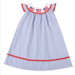 8a741b2a 4th of july girls dresses kids american flag embroidery princess dress  children falbala stripe fly sleeve dress baby girl clothes F7943