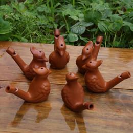 Water Bird Fischio Vintage Water Bird Ceramica Artigianato Arte Fischi Clay Ocarina Warbler Canzone Ceramica Chirps Bambini Giocattoli Da Bagno GGA2002 in Offerta
