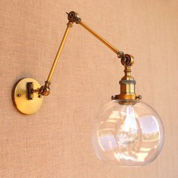 Vintage Swing Arm Wall Lamp NZ - Vintage Wall Light Retro E27 Glass Swing Long Arm Wall Lights Fixtures Industrial Retro Wall Lamp Edison Appliques LED