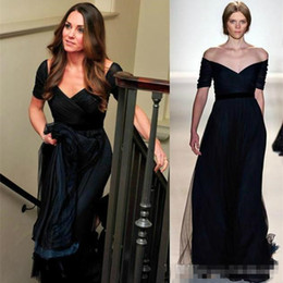 kate middleton long evening dress Canada - zuhair murad Dress Jenny Packham Kate Middleton Navy Blue TULLE Evening Formal Dresses Short Sleeves Red Carpet Celebrity Prom Party Gowns