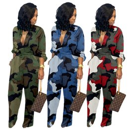 Camouflage bodysuit online shopping - Women camouflage print jumpsuits sexy low collar rompers long sleeve bodysuit designer fall winter clothing fashion loose overalls