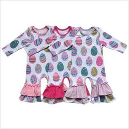 Discount valentines clothing - Baby Valentines Easter Rompers Ins Kids Striped Ruffle Long Sleeve Jumpsuits Hearts Colorful Eggs Printed Rompers Design
