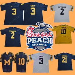 NCAA College Peach Bowl Michigan Wolverines Football Jerseys Charles  Woodson Shea Patterson Rashan Gary Tom Brady Desmond Howard Robinson b50812896