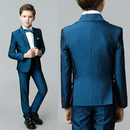 Boys Fashion Formal Suits Australia - Fashion Blue Boy Suits Shawl Lapel Kids Formal Wedding Tuxedo Blazers Costume Made Prom Suits (Jacket+Pants+Bow)