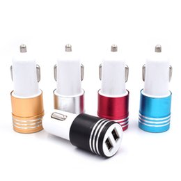 $enCountryForm.capitalKeyWord Australia - Hot sale Dual USB Car Charger Universal 12 Volt 1 ~ 2 Amp Aluminum Alloy Charging Car Adapter For Samsung iPhone iPod Tablet PC idea