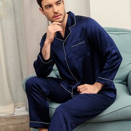 Discount noble weaves - Elegance 100% mulberry silk mens pajamas sets noble jacquard weave Long sleeve solid color male pyjamas pure silk pijama