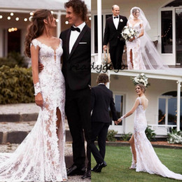 $enCountryForm.capitalKeyWord Australia - Long Sleeve Mermaid Country Wedding Dresses with Slit 2019 Full Lace Applique Sheer Back Covered Button Bohemian Bridal Gown