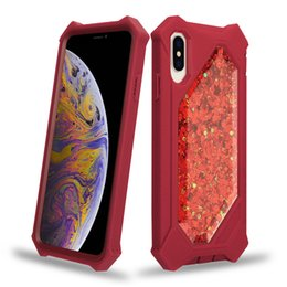 Para iPhone XS Max Defender Estuche Glitter Liquid Quicksand Sparkle Shiny Bling Estuches para iPhone XR X 6 6 s 7 8 Plus