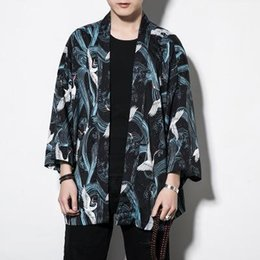 $enCountryForm.capitalKeyWord Australia - Zongke Chinese Style Kimono Cardigan Men shirt Crane Printed Long Black blouse Kimono Cardigan Men Casual Jacket 2019 Summer