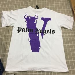 Hot v necks online shopping - 19SS Hot Sale New Pure Cotton Big V Palm Angels T Shirt Comfortable Loose Type Large V Back Print Friend T Shirt White