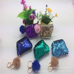 $enCountryForm.capitalKeyWord Australia - NEW Mermaid Sequin Key Chain Coin Purses With Cute Plush Ball Sequin Glitter Mini Zipper Earphone Coin Wallet Girls Gift
