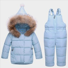 Baby Winter Suit Overalls NZ - good quality 2019 baby girls clothing sets winter down parkas infant bebe girls clothes suits toddler hooded coat+overalls thermal
