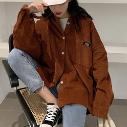 Wholesale top korean long sleeve online – Women s Shirt Blouse Coat Immortal Shirt Easy Korean Tide Long Sleeve Pocket Button Shirts New Spring Autumn Ladies Tops SH19010