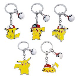 $enCountryForm.capitalKeyWord Australia - Newest Comic Around Pikachu Key Holder Dropping Oil Metal Alloys Keychain With Bell Gifts Keyrings For Child 5hl E1