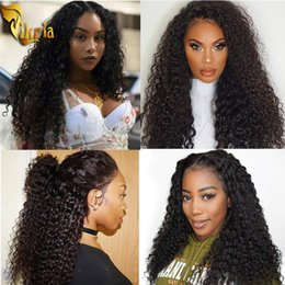 baby curly unprocessed lace wig NZ - Kinky Curly Water Wave 360 Lace Wig Unprocessed Human Hair Lace Wig Pre Plucked Hairline With Baby Hair Natural Color For Black Women