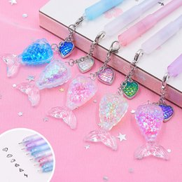 School Stationery For Kids Australia - 1PC Cute Mermaid Pens Crystal Pendant Neutral Pens Kawaii Fish Tail Gel For Kids Gift School Office Supplies Stationery