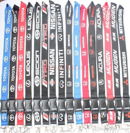 Phone Strap For Gym NZ - 18 Style Choose 10pcs Car Logo Lanyard Neck Strap Key Ring For ID Pass Card Badge Gym Key Mobile Phone USB Holder Hang Rope Lanyard